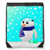 Cute Science Snowman Drawstring Backpack