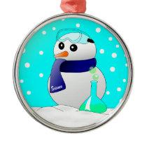 Cute Science Snowman Metal Ornament