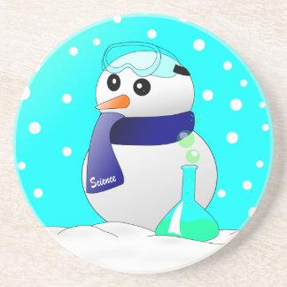 Cute Science Snowman Sandstone Coaster