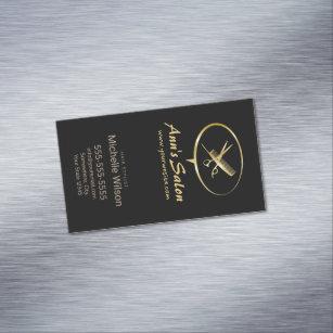 Comb business cards templates zazzle cute scissors comb logo makeup beauty hair salon magnetic business card colourmoves