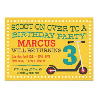 Cute Scooter Kids Birthday Invitations
