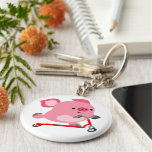 Cute Scooter-Riding Cartoon Pig Keychain
