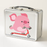 Cute Scooter-Riding Cartoon Pig Metal Lunch Box