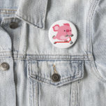 Cute Scooter-Riding Cartoon Pig Pinback Button