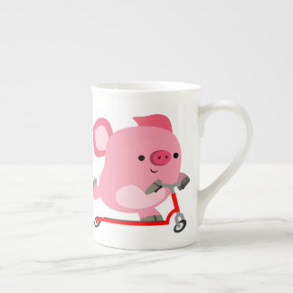Cute Scooter-Riding Cartoon Pig Tea Cup