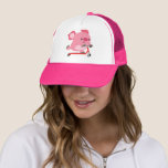 Cute Scooter-Riding Cartoon Pig Trucker Hat