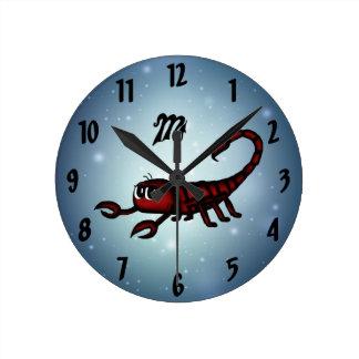 cute Scorpio Round Clocks