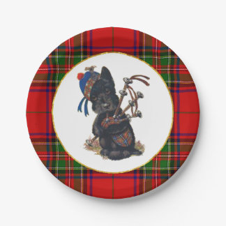 Cute Scottie Playing Bagpipes Paper Plate