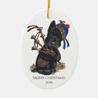 Cute Scottie Playing Bagpipes Personalize Ceramic Ornament