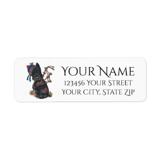Cute Scottie Playing Bagpipes Personalize Label