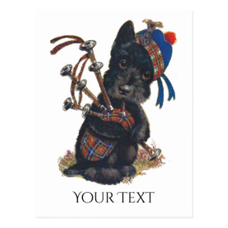 Cute Scottie Playing Bagpipes Personalize Postcard