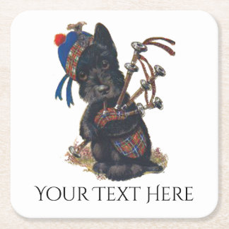 Cute Scottie Playing Bagpipes Personalize Square Paper Coaster