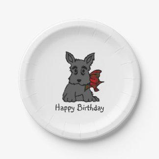 Cute Scottie Puppy Personalize Paper Plate