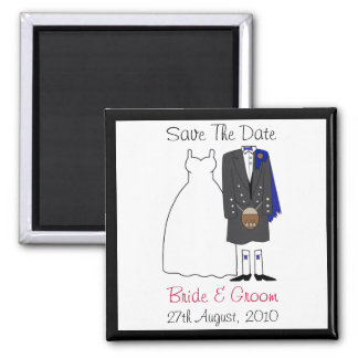 Cute Scottish Bride & Groom Save The Date (blue) 2 Inch Square Magnet