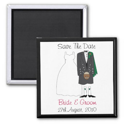 Cute Scottish Bride & Groom Save The Date Magnet