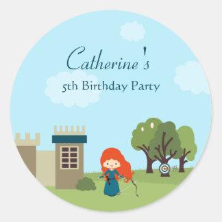 Cute scottish princess girls birthday party classic round sticker