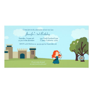 Cute scottish princess girls birthday party invite