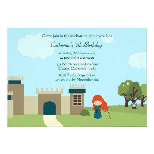 Cute scottish princess girls birthday party invite