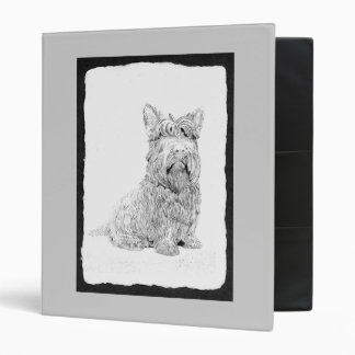 Cute Scottish Terrier dog art 3 Ring Binder