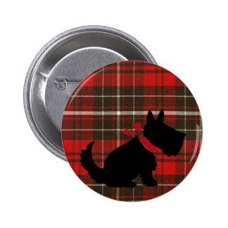 Cute Scotty Dog & Red Tartan Button