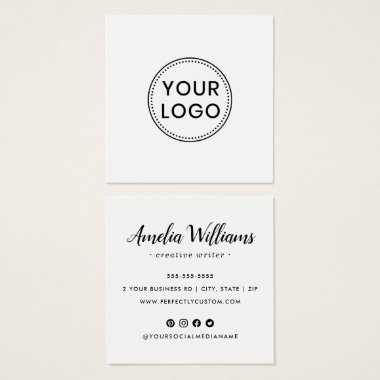 Cute script logo social media icons business card