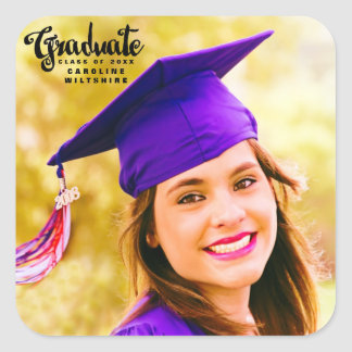 Cute Script Personalized Photo Graduation Square Sticker