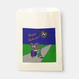 Cute Scruffy Animal Halloween Scene Favor Bag
