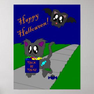 Cute Scruffy Animal Halloween Scene Poster