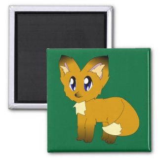 Cute Scruffy Little Fox 2 Inch Square Magnet