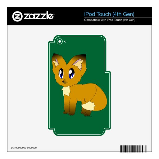 Cute Scruffy Little Fox Decals For iPod Touch 4G
