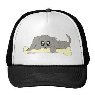 Cute Scruffy Little Puppy Dog with Bone Mesh Hat
