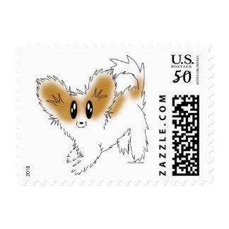 Cute Scruffy Papillon Puppy Dog Postage