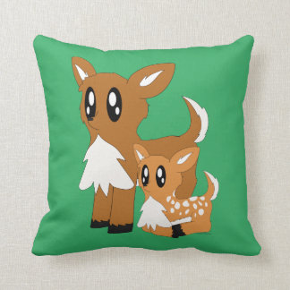 Cute Scruffy Parent and Baby Deer Throw Pillow