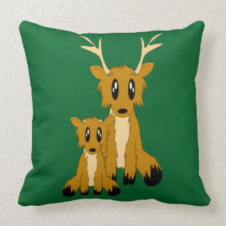 Cute Scruffy Parent and Baby Reindeer Throw Pillow