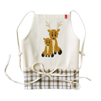 Cute Scruffy Parent and Baby Reindeer Zazzle HEART Apron