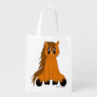 Cute Scruffy Pony Reusable Tote Bag Grocery Bag