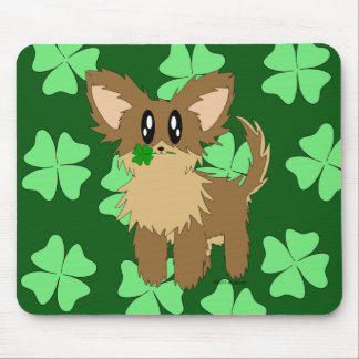Cute Scruffy Puppy Dog With Four Leaf Clover Mouse Pad