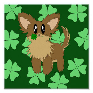 Cute Scruffy Puppy Dog With Four Leaf Clover Poster