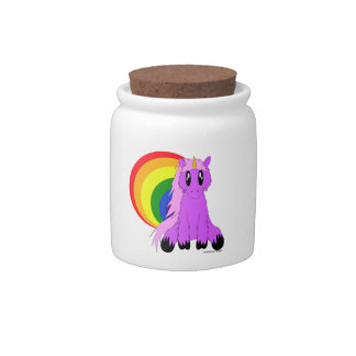Cute Scruffy Unicorn Candy Jar (Pink)