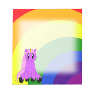 Cute Scruffy Unicorn Notepad (Pink)