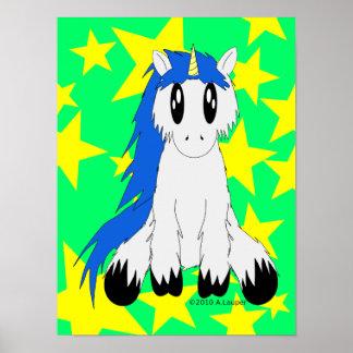 Cute Scruffy Unicorn Poster (Blue)