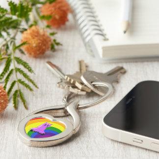 Cute Scruffy Unicorn Rainbow Heart Keychain (Pink)
