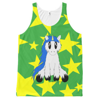 Cute Scruffy Unicorn with Stars Tank (Blue) All-Over Print Tank Top