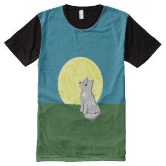 Cute Scruffy Wolf with Moon American Apparel Shirt