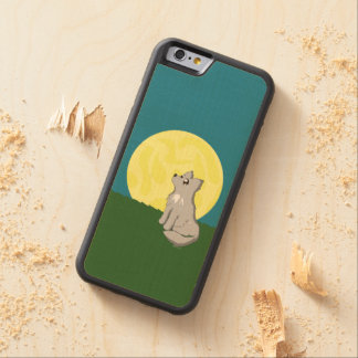 Cute Scruffy Wolf with Moon Carved Maple iPhone 6 Bumper Case