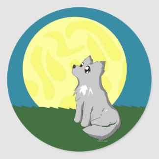 Cute Scruffy Wolf with Moon Classic Round Sticker