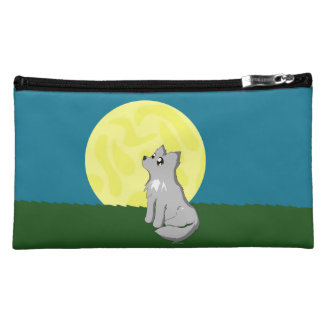 Cute Scruffy Wolf with Moon Cosmetic / Pencil Bag