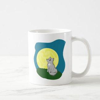 Cute Scruffy Wolf with Moon Mug