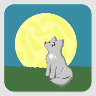 Cute Scruffy Wolf with Moon Square Sticker