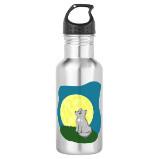 Cute Scruffy Wolf with Moon Stainless Steel Water Bottle